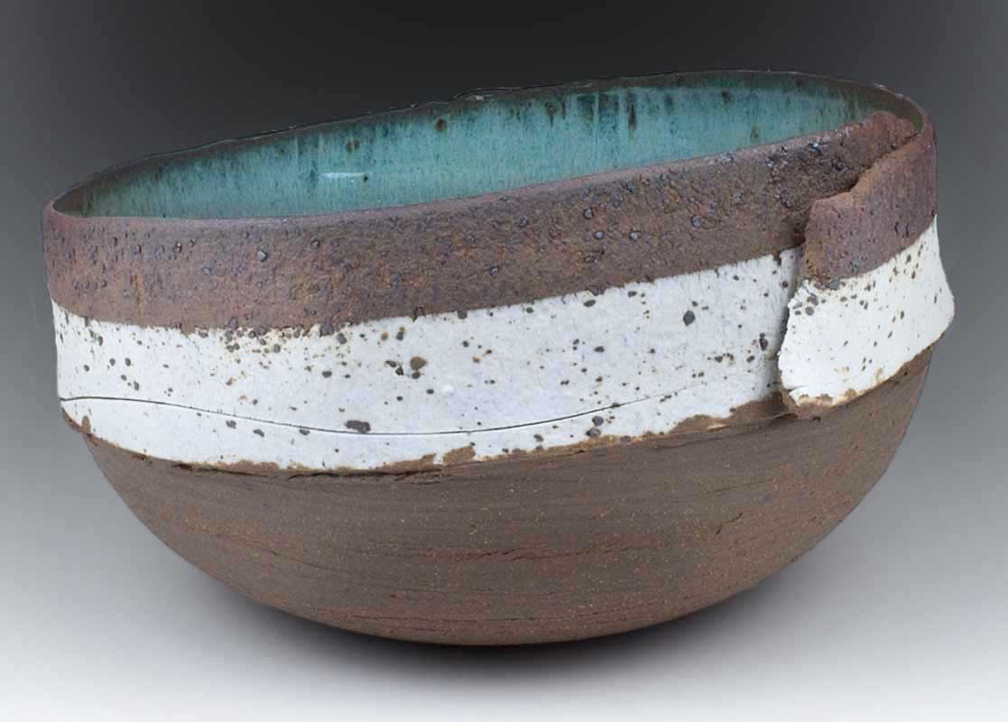 Ceramic Stoneware Wrapped Bowl with inlaid porcelain